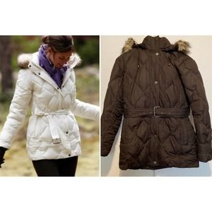 Lands' End Goose Down Belted Puffer Coat Brown XSP